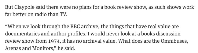 "Apparently a ""books discussion show from 1974... has no archival value."" What an incredibly ignorant thing to say. https://t.co/NC30iLBt15"
