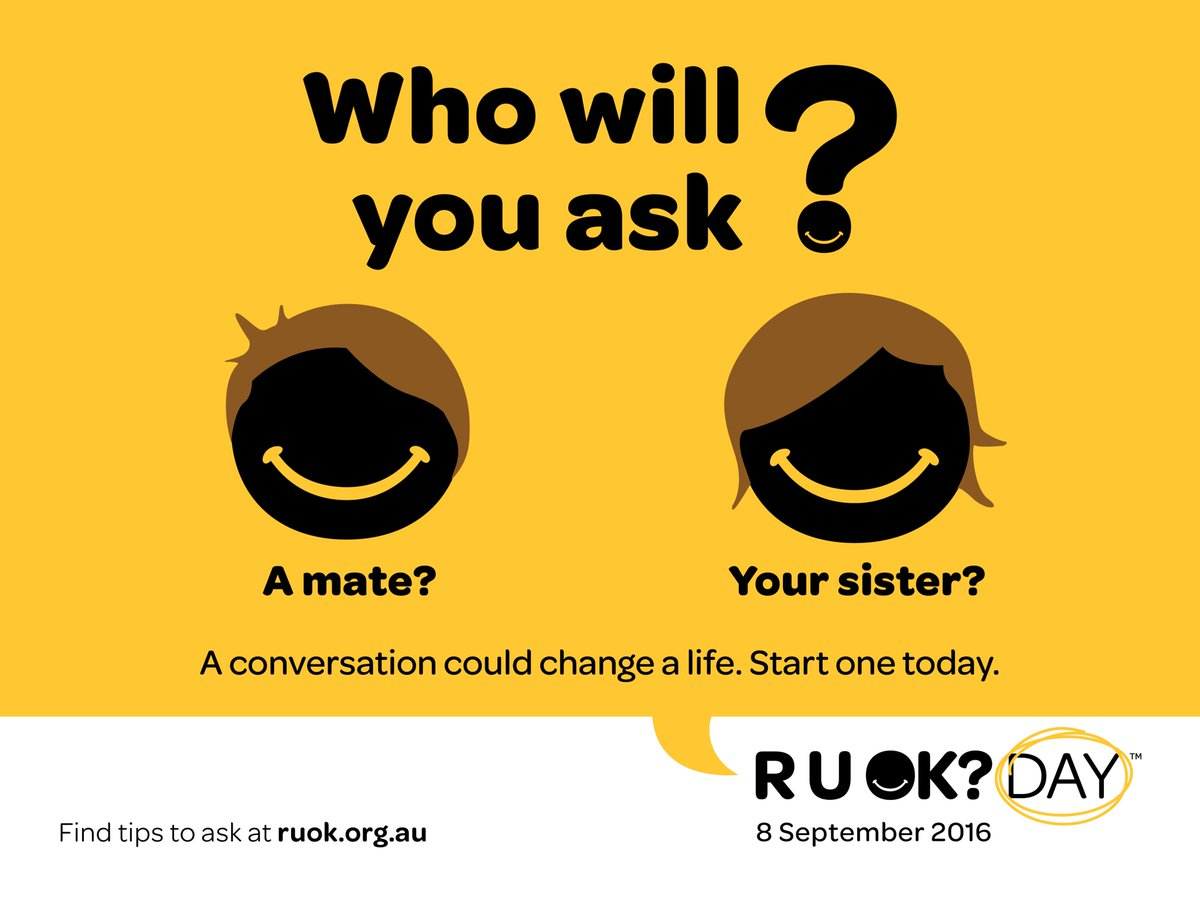 Today is #RUOKDay. Time to talk to your mates, mates. https://t.co/v3RIiO8QWH