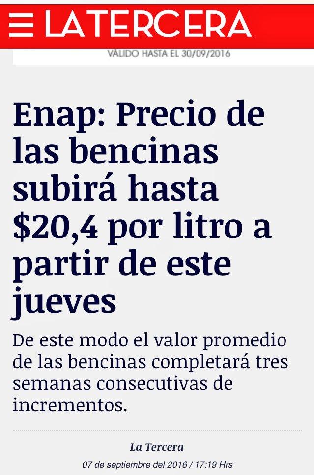 Gobierno prometió a los chilenos q c/ MEPCO alza en combustible no sería superior a $5 semanales. Sorpresa: MINTIÓ! https://t.co/Y8DyASMLFS