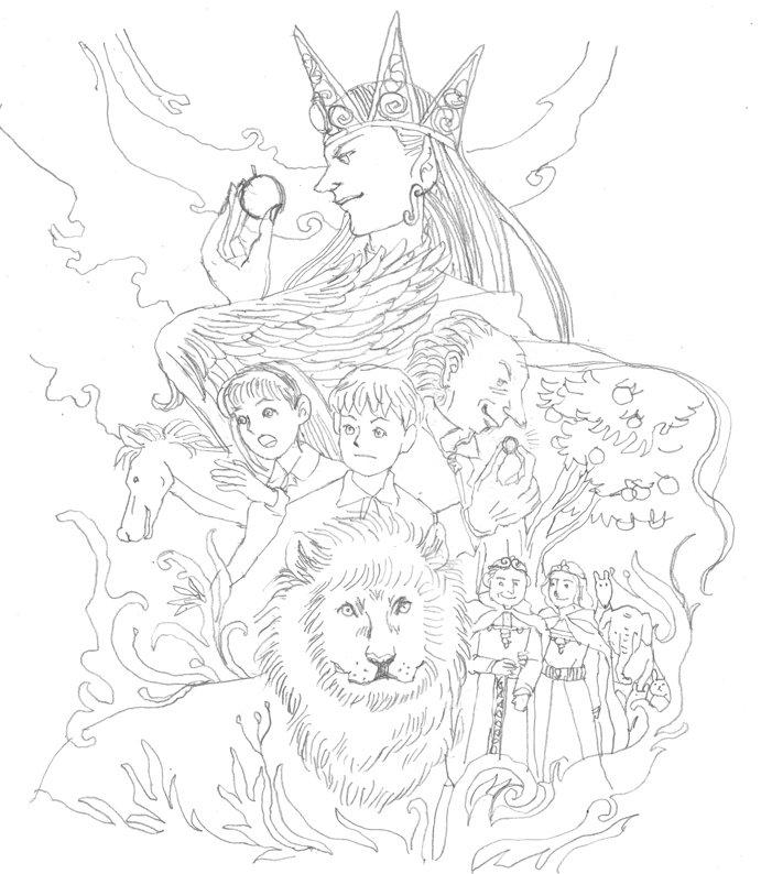 光文社古典新訳文庫『ナルニア国物語 1 魔術師のおい』(C.S.ルイス[著]/土屋京子[訳])が本日発売ですが、恐れ多くも挿絵を私が手掛けることになりました。応援よろしくお願いいたします。これは帯イラストのラフ進行と完成版です。 https://t.co/cFRH9lUsxb