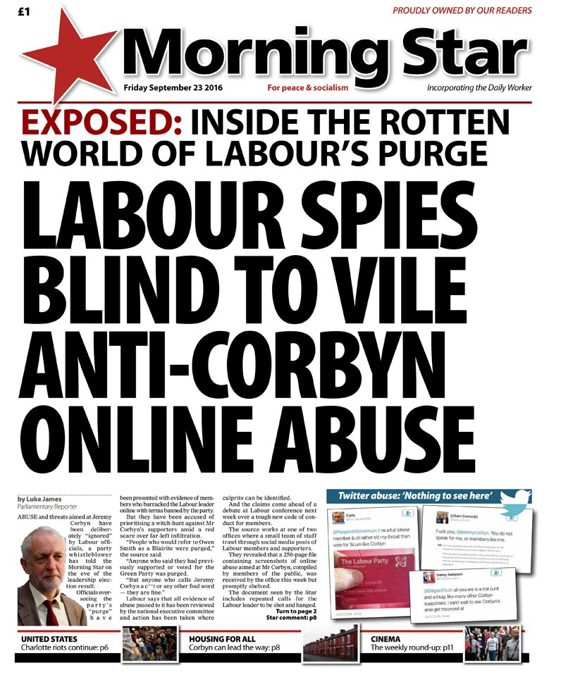 Friday's front: Labour spies blind to anti-Corbyn online abuse https://t.co/82H4EPM2lA
