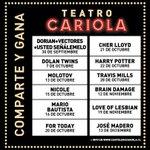 @CariolaShows 👥👑  #ElCariolaMeInvita a ver a los Dolan Twins este 07 de Octubre!!💚 🙏 #4ouChile  https://t.co/H6HlhVg0Dz