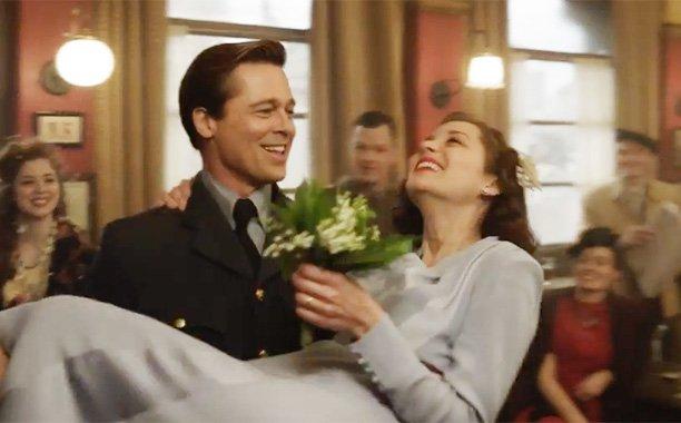 Brad Pitt & Marion Cotillard share steamy scenes in the new Allied trailer: 🙊
