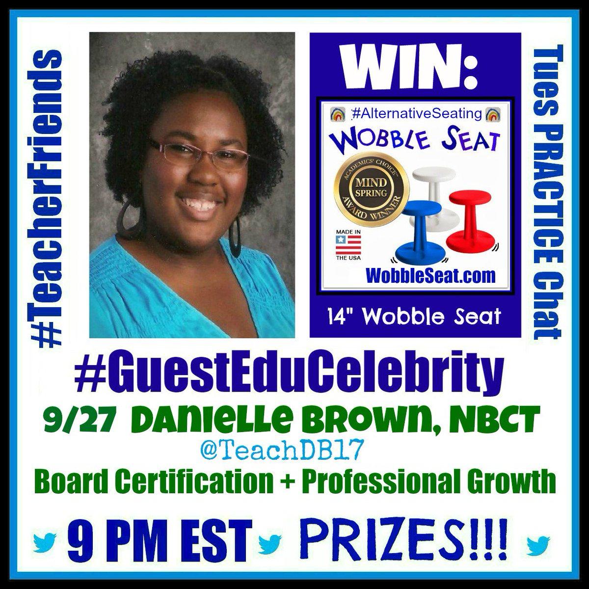 #TeacherFriends Next 9/27 welcome Danielle @TeachDB17 Join us! Please ReTweet! WIN: @WobbleSeat https://t.co/wGw5c6qKWD