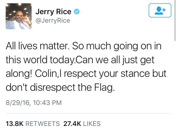 Jerry Rice needed a reminder or something?!!!! I guess another shooting just woke him up. https://t.co/lnLjnPJWOP