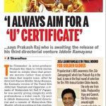 RT @vinu048: I Always Aim For A 'U' Certificate : @prakashraaj #IdolleRamayana https://t.co/UyFDPWi0f5