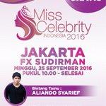 Pastikan kamu datang ke audisi #MissCelebrity2016 di FX Sudirman pkl 10.00 WIB! Bakal ada @alysyarief loh! https://t.co/niwl9ktWvM