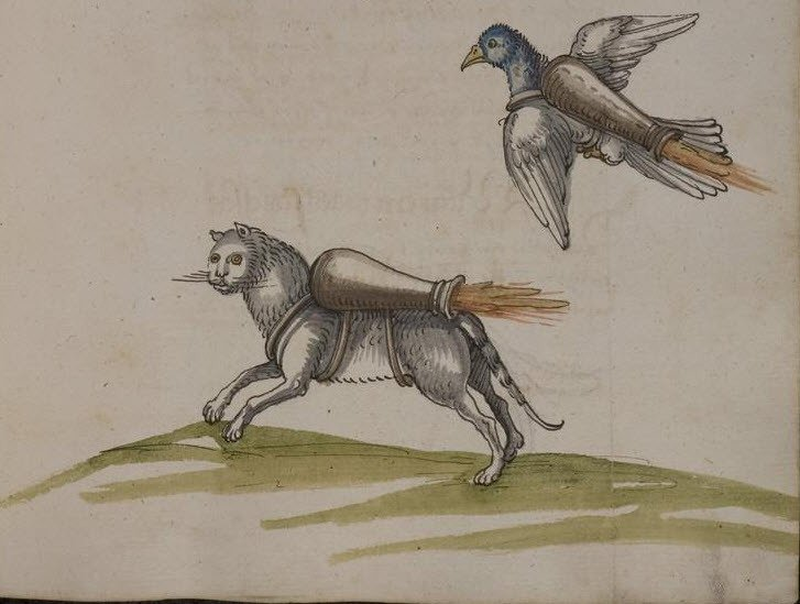 I never, ever get tired of this: The 16th-century manuscript showing cats with jetpacks. https://t.co/A4EDswphib https://t.co/FNCjcPLdin