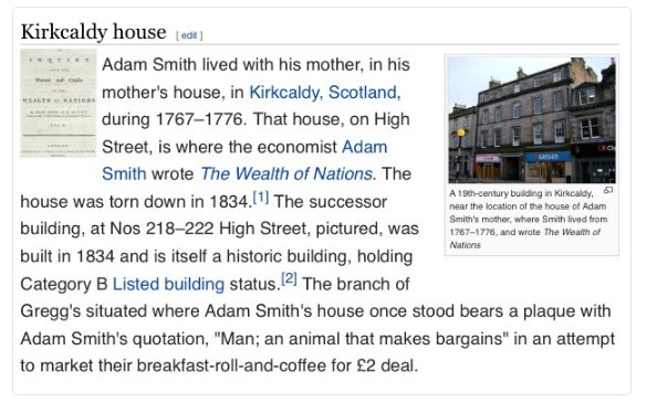 Adam Smith's house in Kirkcaldy is now a Greggs. https://t.co/hje164V6Bp
