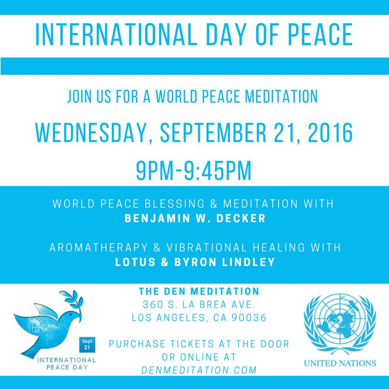 Tonight! #meditate to celebrate #internationaldayofpeace with @BenDecker at @DENmeditation https://t.co/UZg0kackrk