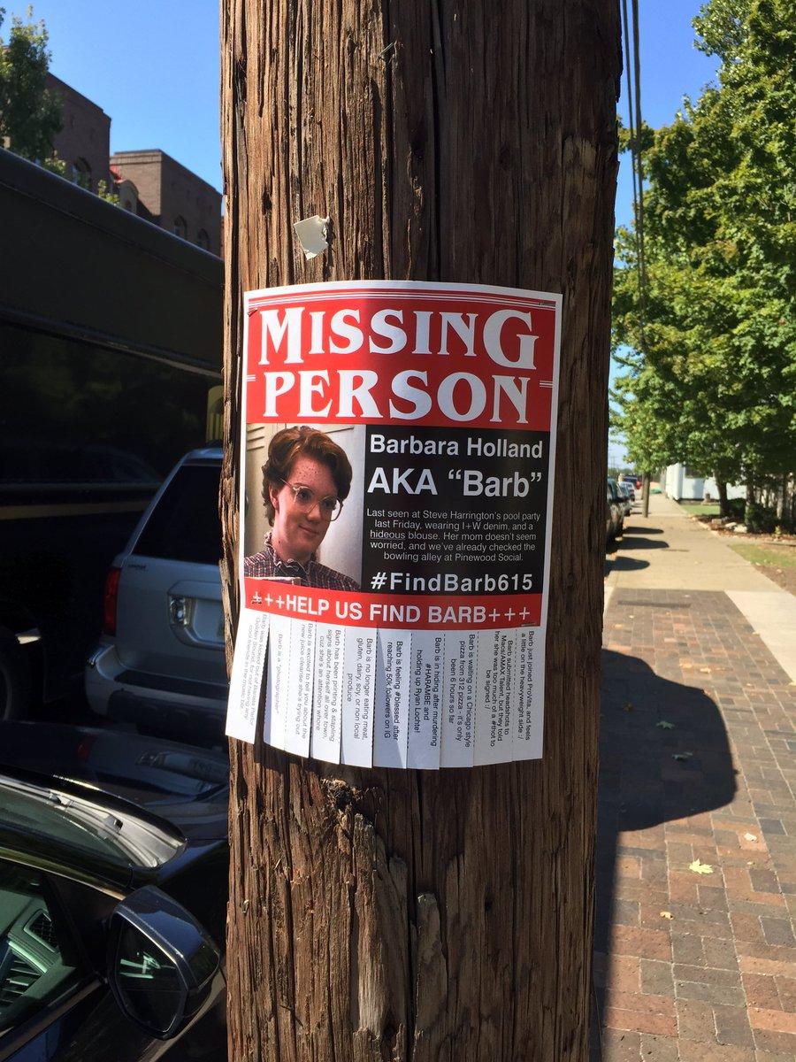 Nashville cares about finding Barb.  @Stranger_Things #findbarb615 https://t.co/crZf0VJIdl