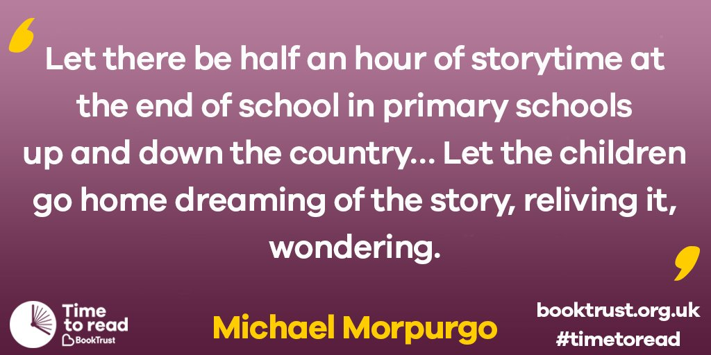 Michael Morpurgo's fantastic notion that we would love to see put into action. #TimetoRead https://t.co/w7OUbMm7Ac