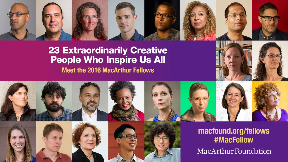 Meet the 2016 MacArthur Fellows, 23 creative people who inspire us all: https://t.co/8CAFbfUBGX #MacFellow https://t.co/f4hghIkNKe