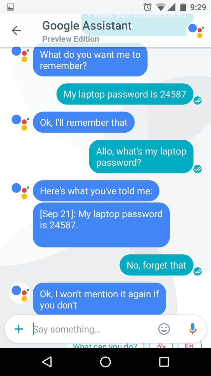 Allo is smarter than I thought. I can ask Allo to remember things for me. Here's what it looks like. https://t.co/YMpZ9Iyf6Y