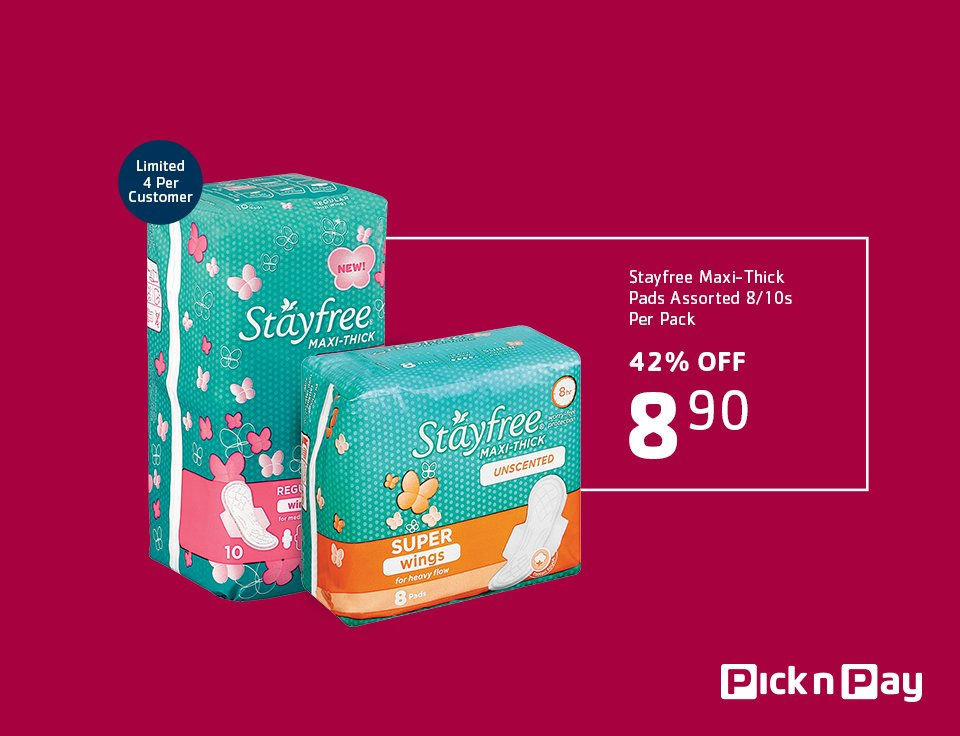 Tomorrow ONLY! R8.90 for Stayfree Maxi-thick pads at our #MassiveOneDaySale! That's 42% OFF! https://t.co/M1QUoQn2uo https://t.co/p5xaKIFzKx