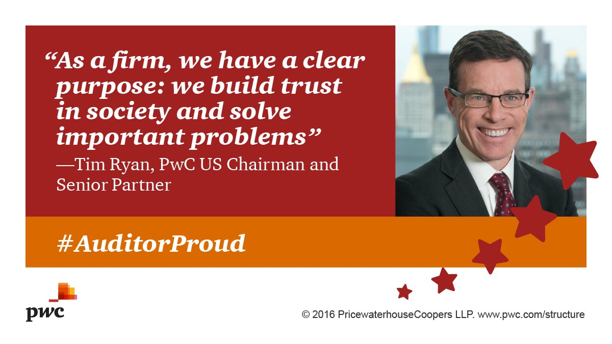 #PwC's @Timothy_F_Ryan is #AuditorProud bc of our role building trust in the cap... #PwC's @Timothy_F_Ryan is #AuditorProud bc of our role building trust in the cap… Cs9bwy9WgAAMN3N