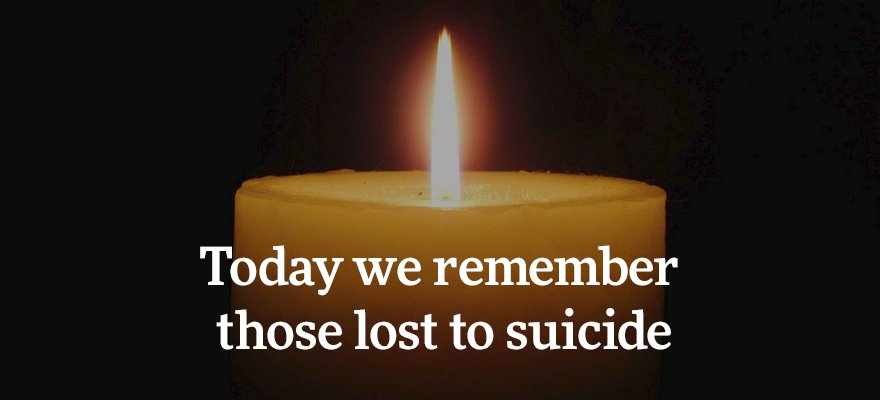 Join us in lighting a candle at 8 pm this evening in remembrance of those people who we have lost to suicide. https://t.co/RhPUdeAv8j