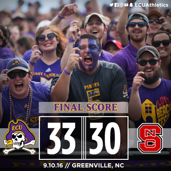 PAINT IT PURPLE! @ecupiratesfb takes down NC State in a 33-30 VICTORY! #ECUndaunted ☠