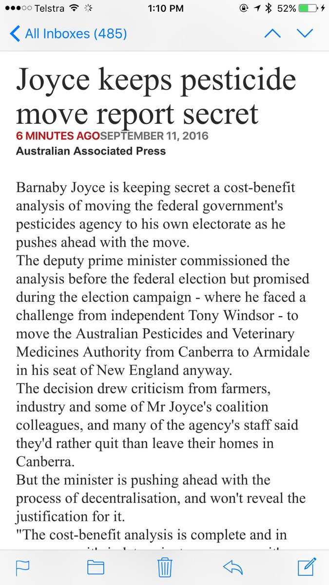 The pressure is building on Joyce. His reckless pork barrelling is a threat to our agriculture sector #apvma https://t.co/mNuDFTY0PU