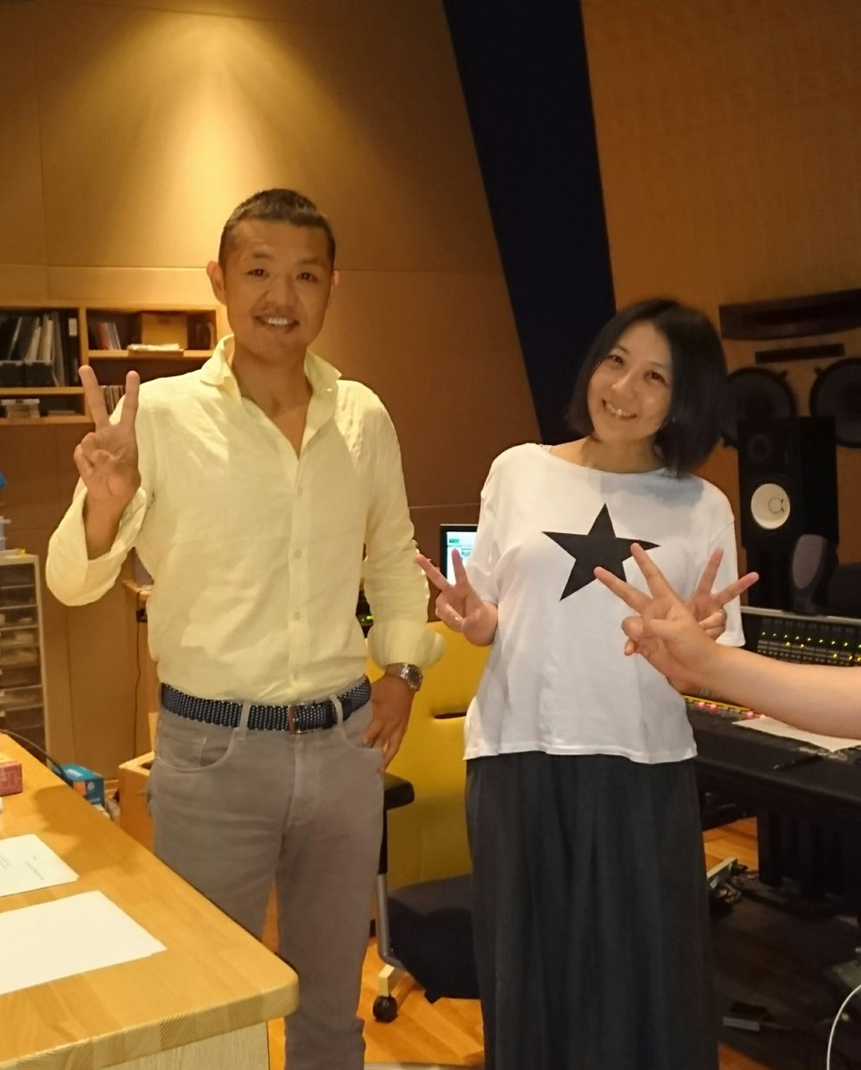 生天目さんと丸戸さんと。生天目さん、かずさアルバム前半5曲のレコーディング3日間お疲れさまでした! 次回後半もよろしくお