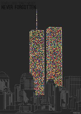 There are 2606 dots that compose WTC Twin Towers the number of people who passed away 9/11 #NeverForget #Remember911 https://t.co/hWFOO1MqCM