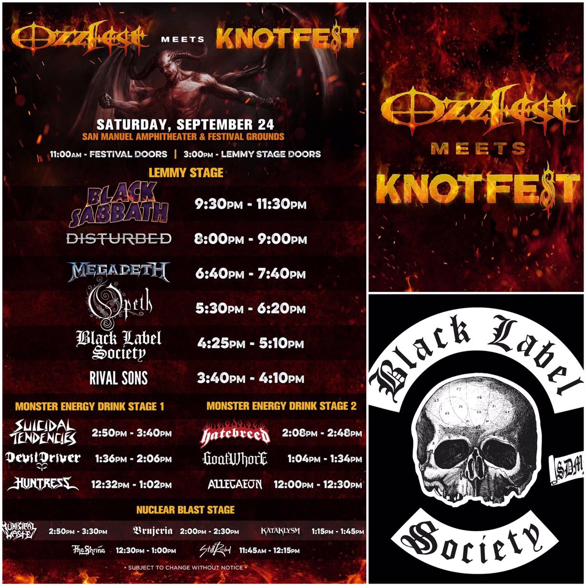 #BlackLabelSociety playing Saturday, September 24th at OzzfestMeetsKnotfest in San Berardino, CA! @ozzfestknotfest https://t.co/b1cr0g5r1r