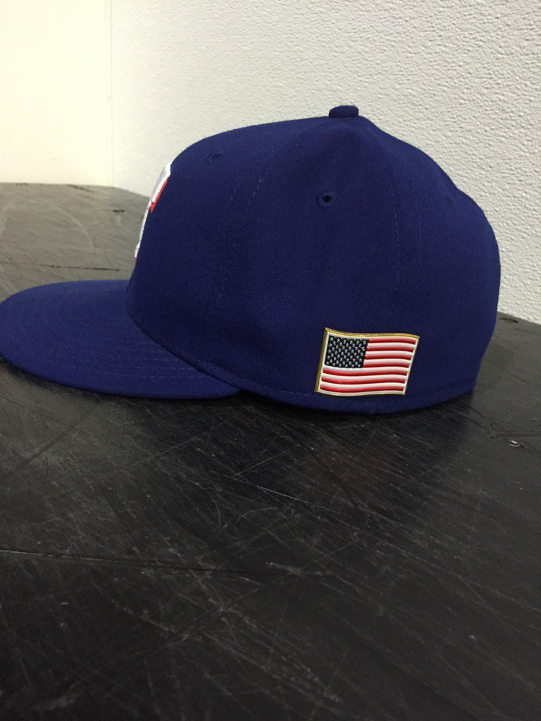 The Rangers will wear this American flag on their caps today to honor the anniversary of  Sept. 11, 2001. https://t.co/ir1cT1cbBt