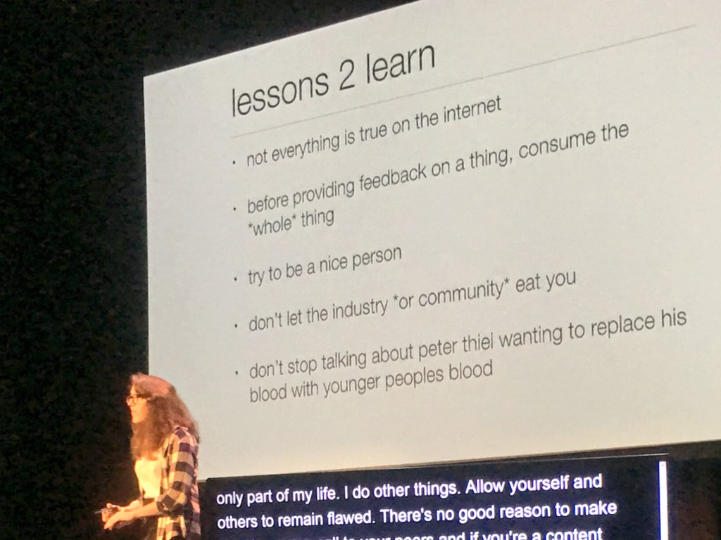 """Don't stop talking about peter thiel wanting to replace his blood w/ younger peoples blood"" @jennschiffer #xoxofest https://t.co/e1MzOHlh2k"