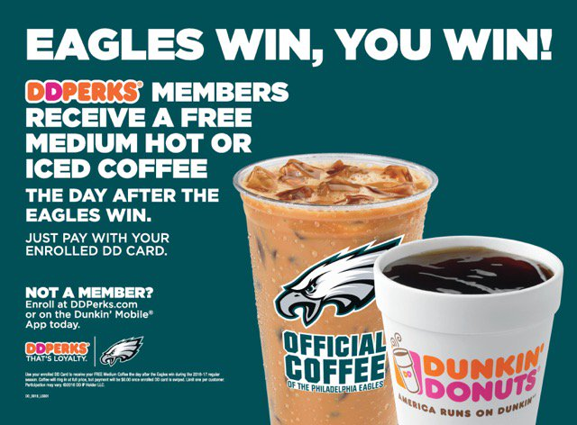 #Free: @DunkinPhilly @Eagles Win, You Win Free Coffee tomorrow! #FlyEaglesFly https://t.co/CUECOtZagq https://t.co/Q0idLjnZIi