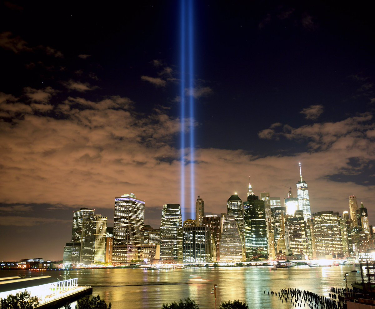 The #TributeInLight shines for all innocent lives taken on September 11, 2001 #NeverForget https://t.co/KyrtCRhVob