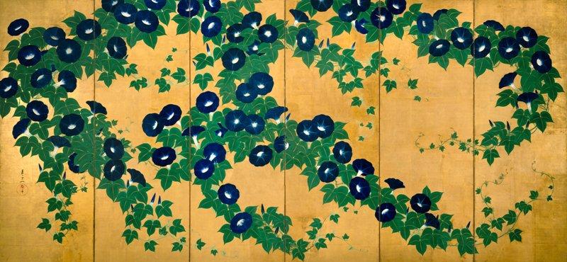 \本展の目玉!/ アメリカ・ニューヨークから「朝顔図屏風」が里帰り!その色彩の鮮烈さ、構図の大胆さにご注目!日本では12年ぶりの公開です♪https://t.co/UW7pnsNXfO https://t.co/ZQbaCta5Xs