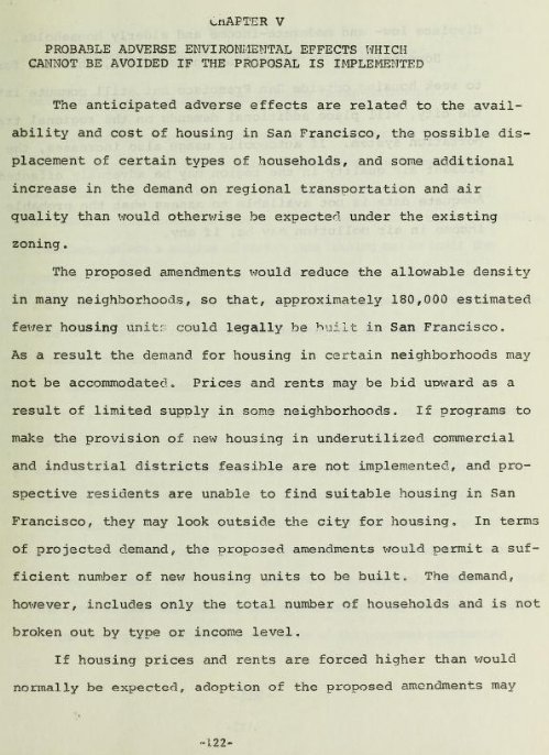 EIR for 1978 rezoning https://t.co/vhUGuOMjpe did predict cost increases, displacement, pollution from long commutes https://t.co/cuwWCnrjFI