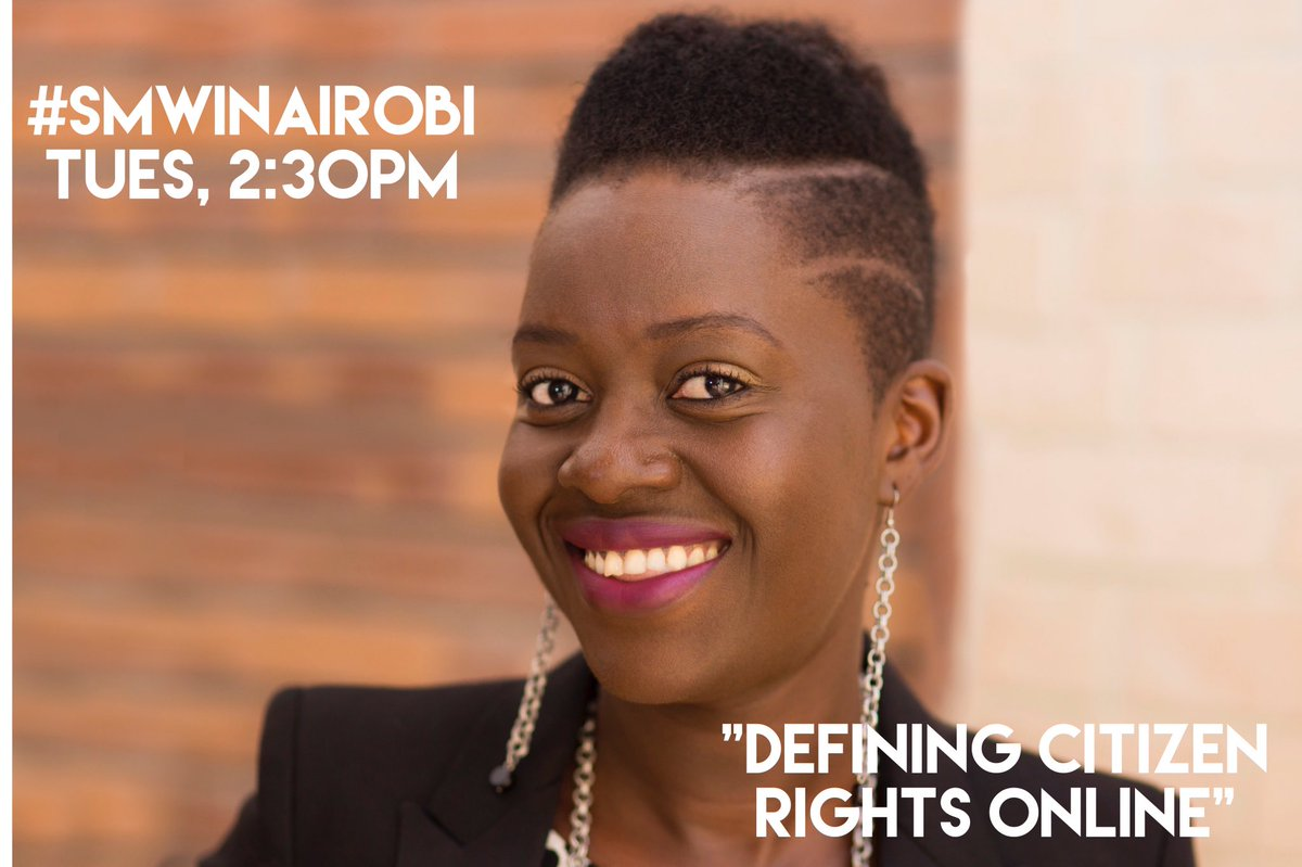 """I'll be speaking on the """"Defining Citizen Rights Online"""" panel at #SMWiNairobi Tues 13 Sep 2.30-3.30pm. #smw16 https://t.co/LiAKO5jqqX"""