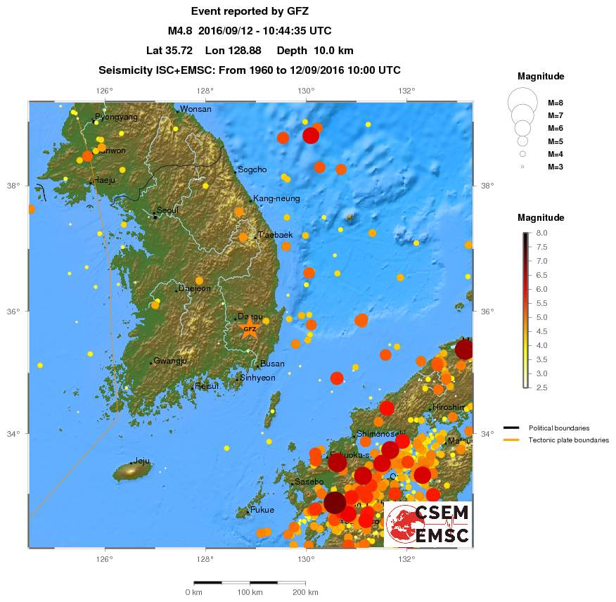 Map Of Historical Seismicity In South Korea Shows That There Has - Been there map