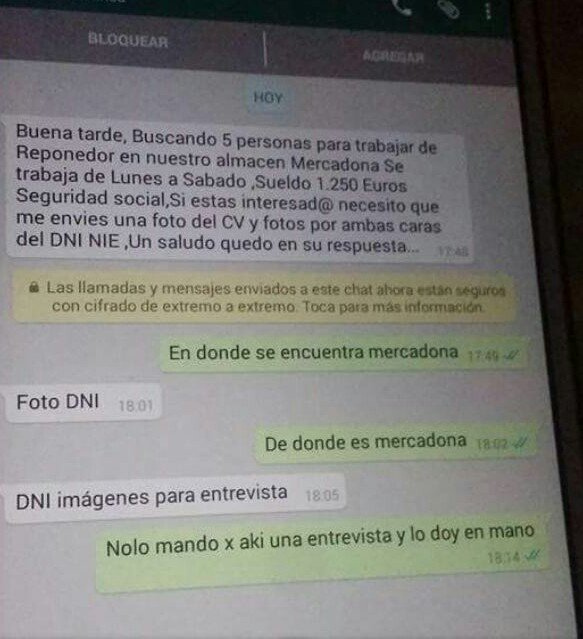 Avisa @policia: Mercadona  NO busca trabajadores mediante #whatsapp. Es un fraude, te robarán datos/fotos #NoPiques https://t.co/QFqYXRBNSa