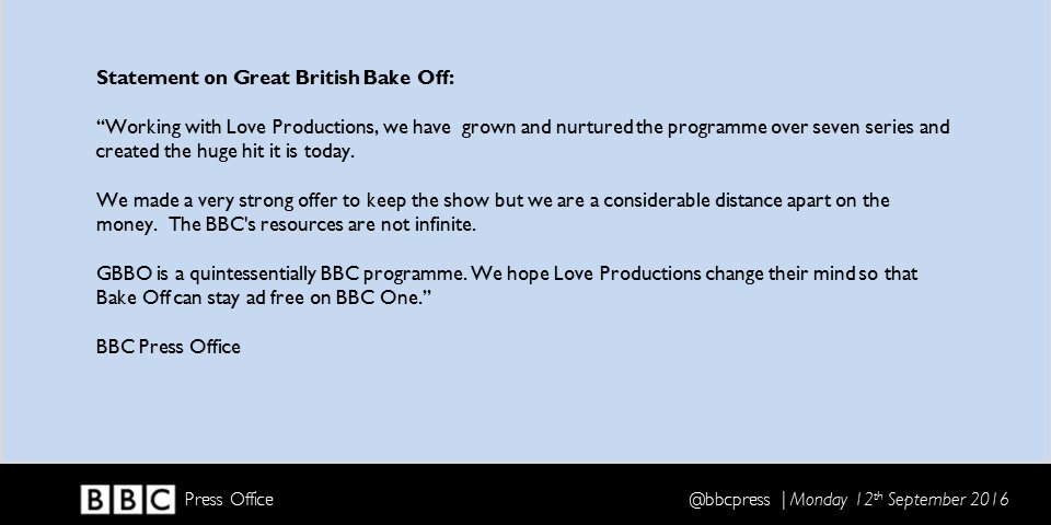 Statement on Great British Bake Off: https://t.co/j4D0mMoqmN