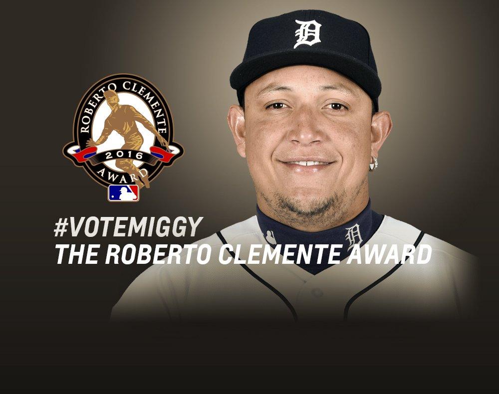 Dale RT a este tuit o usa #VoteMiggy para votar por @MiguelCabrera para ganar el Premio Roberto Clemente 2016. https://t.co/LvB1FcwhZS