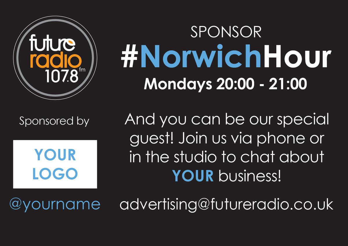 Be a guest on our #NorwichHour show & promote your #local #Norfolk business! Tweet us to find out more https://t.co/gwY0fBukYu