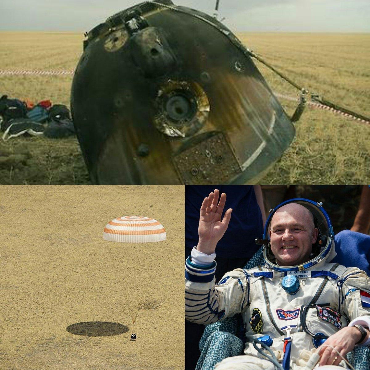 Min #Kamp, @astro_andre en #cosmonaut kononenko onthullen bij @Spaceexpo de SoyuzTMA-03M #capsule op 19 september. https://t.co/8HNL0ZQOiM