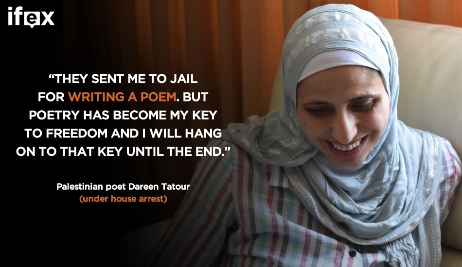 This #EidMubarak, keep poet #DareenTatour, under house arrest in #Israel, in your thoughts https://t.co/30GHqroRRq https://t.co/Rx2nqonrzd