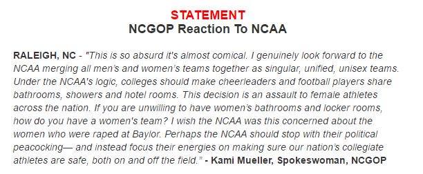 Re NCAA/NC/bathrooms/boycotts: Best press release ever. https://t.co/siqpdXOtDh