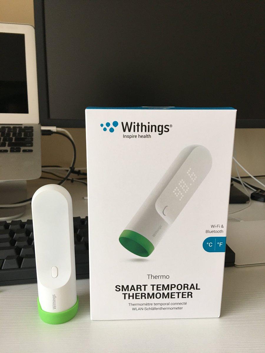 Withings Thermo 不是一般的赞。是超级无敌赞!比博朗耳温计精确很多,连续测量误差很低。无需接触皮肤,小孩发烧测体温的场景能大大派上用场。之前以为是蓝牙同步的,买回来才知道居然还有Wi-Fi。 https://t.co/56vLzE8Xzn
