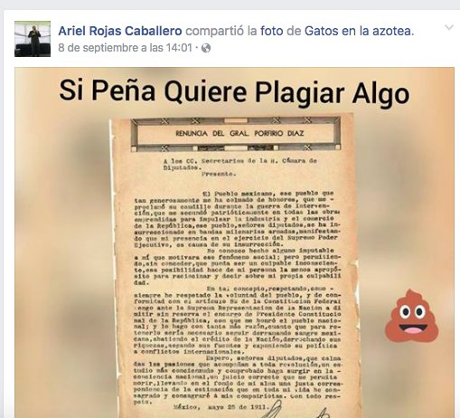 En facebook, el Magistrado Ariel Rojas propone a @EPN que si quiere plagiar, ahí está la carta de renuncia de Díaz. https://t.co/gAIWuYfPOU
