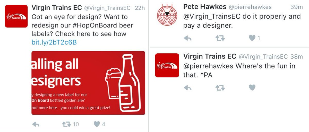 """YAY! No-one has to pay for @Virgin_TrainsEC tickets anymore! Because """"where's the fun in that?"""" (cc @pierrehawkes) https://t.co/0WJi2QM8mk"""