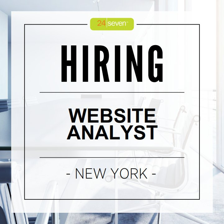 NYC! We're hiring a Website Analyst. Are you up for the challenge? Send your resume to alongman@24seveninc.com https://t.co/M9sdusaQhQ