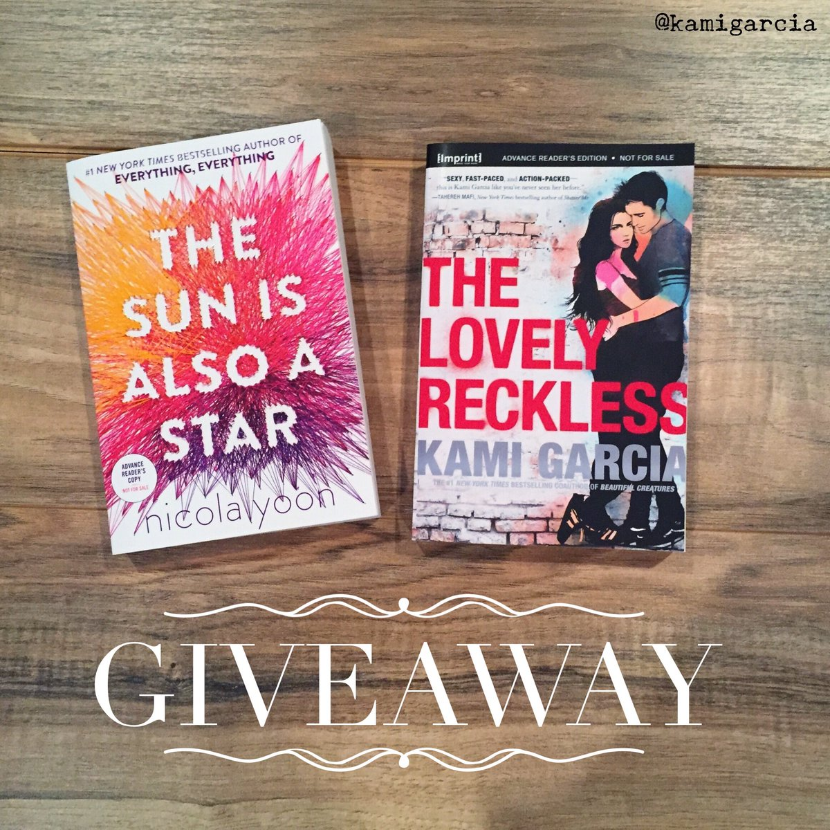 #Giveaway: Win THE SUN IS ALSO A STAR by the awesome @NicolaYoon + #TheLovelyReckless! Follow & RT, ends 9/16. US. https://t.co/DnYA8NBu8G
