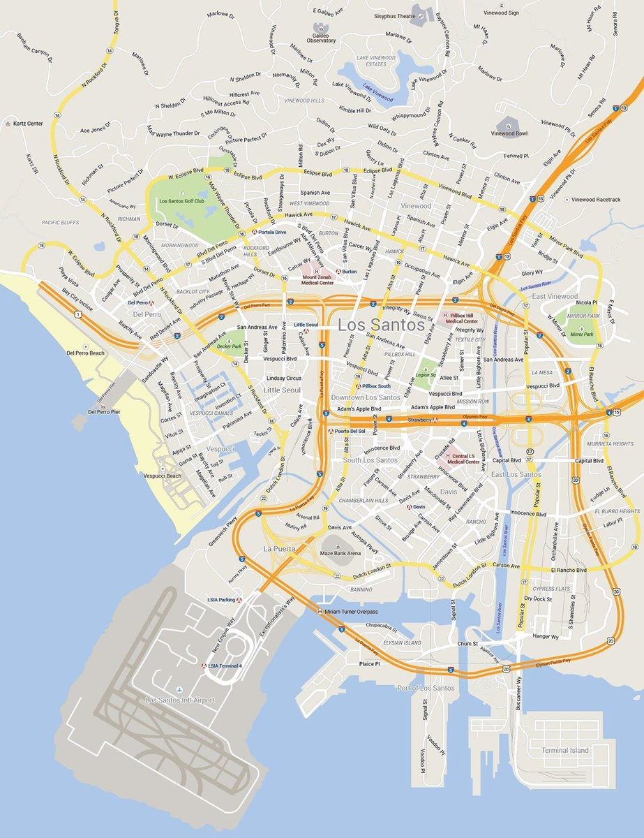 Check Out Guy Petersons Map Illustration Of Los Santos In Google - Style a google map