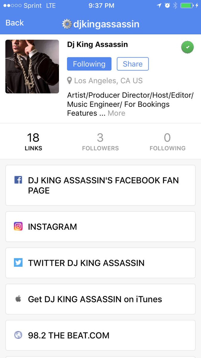 Find @djkingassassin on all of his official app & social profiles by following him in the new ItsMyURLs iPhone app https://t.co/T8zJAgM4gc