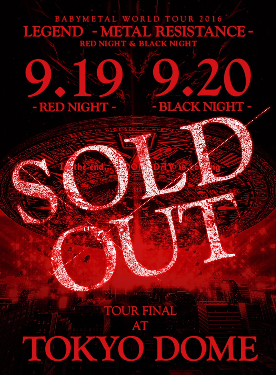 "TOKYO DOME公演両日SOLD OUT!!TOKYO DOMEで""THE ONE""になりましょう!!https;//t.co/TC3HOENWa..."