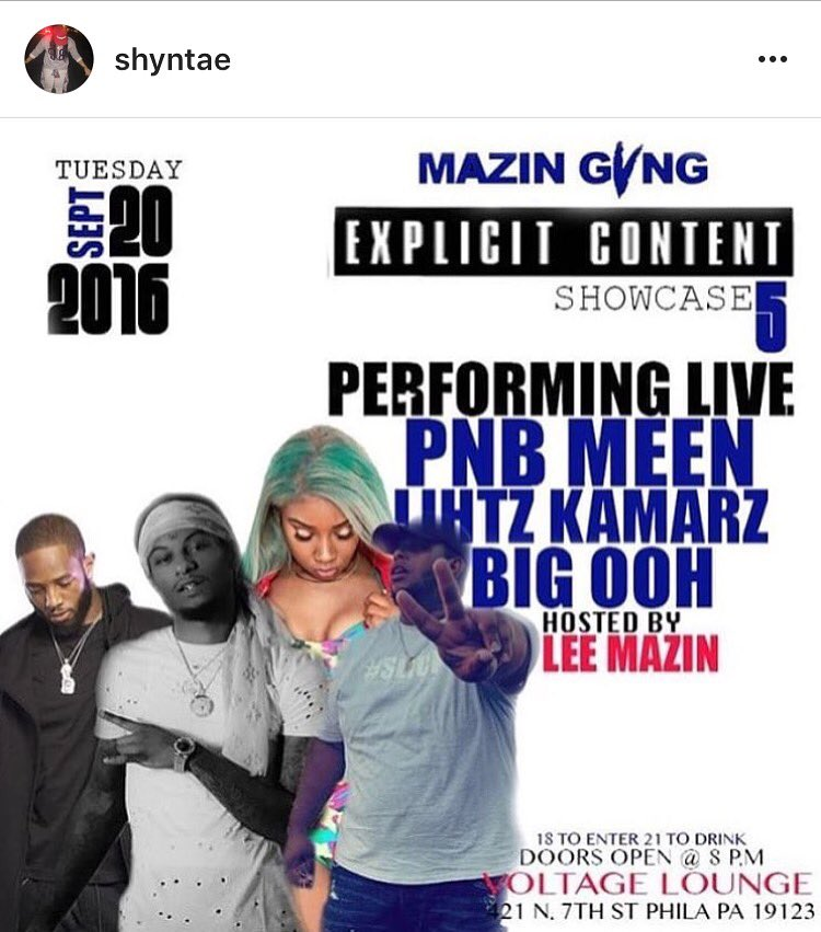 Tuesday September 20th I'm Performing in Philly at @VoltageLounge --> S/O @LeeMazin & @Shyntae ‼️‼️‼️#BeThere